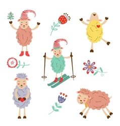 Cute colorful funny sheeps collection vector image