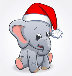 cute elephant infant with christmas santa hat vector image