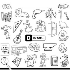 D is for educational task coloring book vector