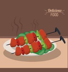 Delicious food roasted meat skewers vegetables vector