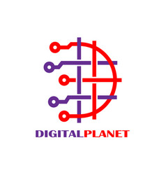 digital world logo design template abstract vector image