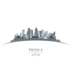 Doha qatar city skyline silhouette white vector
