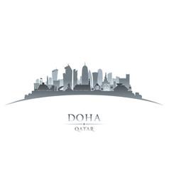 doha qatar city skyline silhouette white vector image