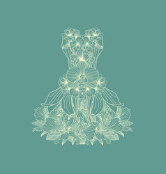 Dress made of linear flowers on teal background vector