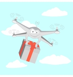 Drone delivers funny gifts vector image
