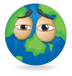 earth globe sleepy face vector image