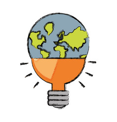 earth planet in bulb shape icon vector image