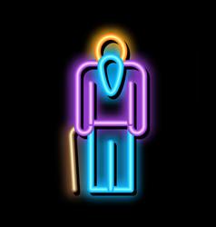 Elder man stick neon glow icon vector