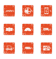 Escort car icons set grunge style vector