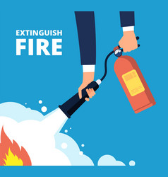 extinguish fire fireman with fire extinguisher vector image
