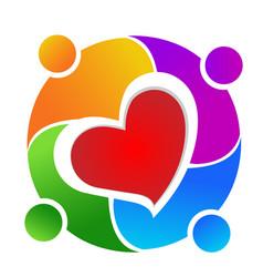 Family teamwork love icon vector