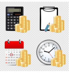 finance icons isolated on transparent background vector image