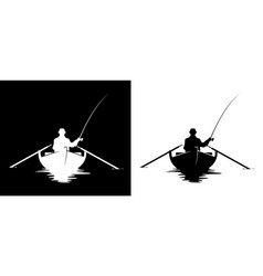 Fisherman in boat silhouette vector