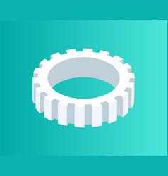Gear mechanism isometric icon vector