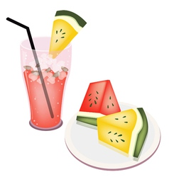 Glass of Watermelon Juice and Watermelon Fruit vector image