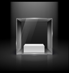 Glass showcase in cube form with spot light for vector