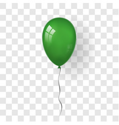 Green balloon 3d thread isolated white vector