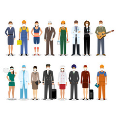 group people with different occupation wearing vector image