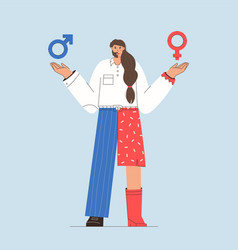Half man and woman with male and female symbols vector