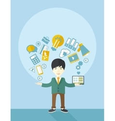 Happy chinese self employed vector image