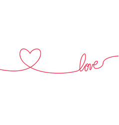 heart and love in continuous drawing lines in a vector image