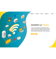 Internet of things landing page website vector