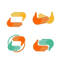 Isolated abstract clapping hands logo set give vector