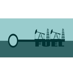 Key with fuel word and mining equipment icons vector