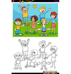 Kids and teens characters group color book page vector