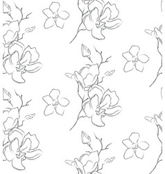 line drawing floral seamless pattern vector image