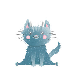 little cute adorable kitten sitting watercolor vector image