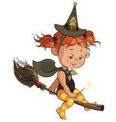 Little halloween witch learning to fly on a broom vector