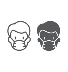 Man with medical mask line and glyph icon virus vector