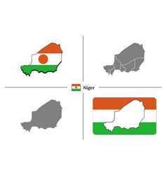 Map niger with national flag and state regions vector