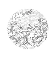 Marine-themed circle shape design element sea vector