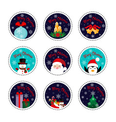 merry christmas patch set christmas and new year vector image