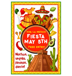 Mexican holiday party invitation of cinco de mayo vector