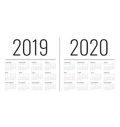 Mockup simple calendar layout for 2019 and 2020 vector