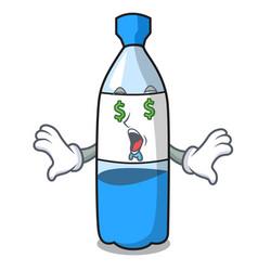Money eye water bottle mascot cartoon vector