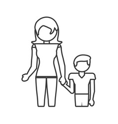 Mother with son together outline vector