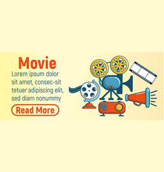 Movie concept banner cartoon style vector