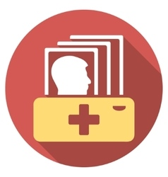 Patient Catalog Flat Round Icon with Long Shadow vector image