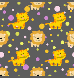 Pattern with cute african tiger and lion vector