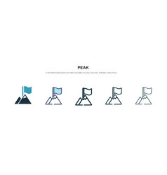 Peak icon in different style two colored and vector