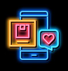 Phone app customer digital brand touchpoints neon vector