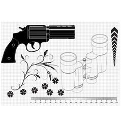 Pistol and binoculars vector