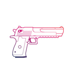 Pistol outline over white handgun powerful gun vector