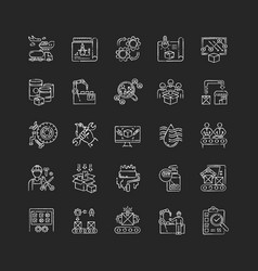 Production process chalk white icons set on black vector