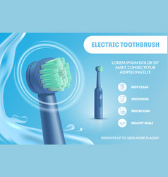 realistic detailed 3d electric toothbrush ads vector image