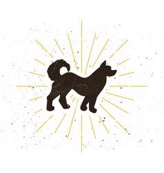 retro dog silhouette vector image